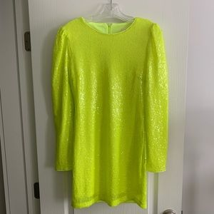Neon Chartreuse Sequin Mini Dress